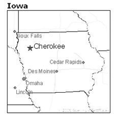 Location of Cherokee, Iowa