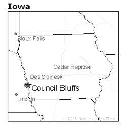location of Council Bluffs, Iowa