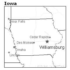 Location of Williamsburg, Iowa