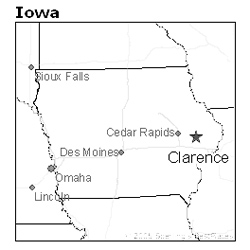 location of Clarence, Iowa