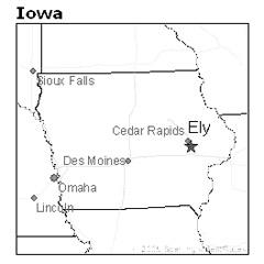 location of Ely, Iowa