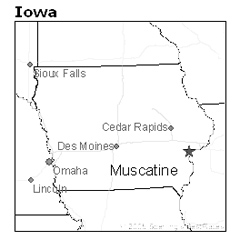 location of Muscatine, Iowa