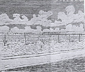 "Sketch of the crime scene looking SW, by ""Smith,"""