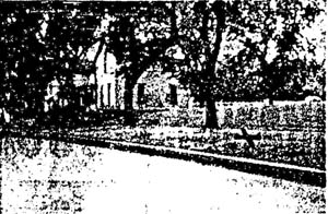 "Grainy crime scene photo, with ""X"" making the spot where the body lay (from Cherokee Times & Chief)"