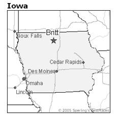location of Britt, Iowa