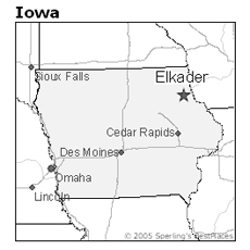 Location of Elkader, Iowa