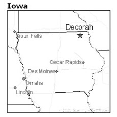 location of Decorah, Iowa