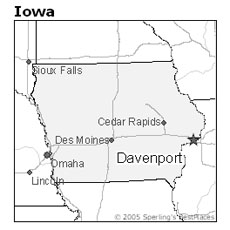 location of Davenport, Iowa