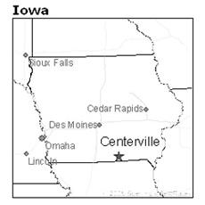 location of Centerville, Iowa