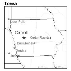 location of Carroll, Iowa