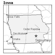 location of Sigourney, Iowa