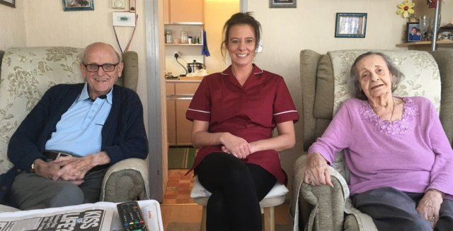 Susan with our live in care customers Mr and Mrs Lack.