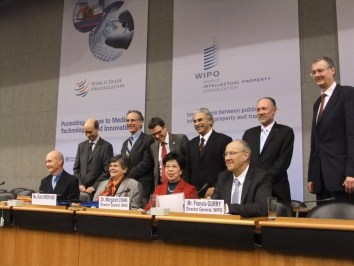 World Trade Organization (WTO), World Health Organization (WHO) and World Intellectual Property Organization officials at the launch of the study on 8 February.