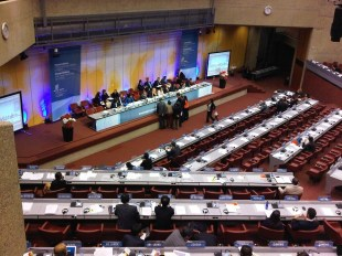 WIPO Assembly regional chairs gather at the podium