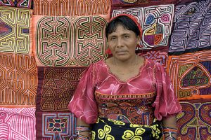Kuna woman selling molas in Panama market