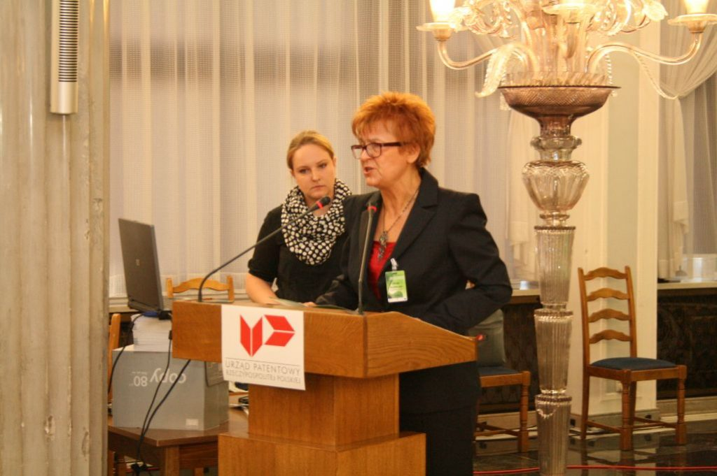 Alicja Adamczak, the president of the UPRP, speaking at the Polish Parliament