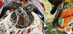 Women making Kiondo, a traditional Kenyan basket whose patent remains mystery.
