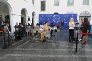 Gathering in the atrium at the WTO Public Forum