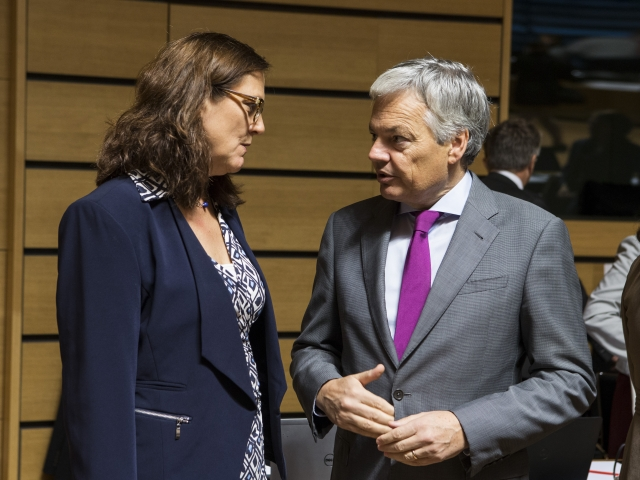 EU Trade Commissioner Celia Malmstroem and Belgian Minister of Foreign Affairs Didier Reynders, today