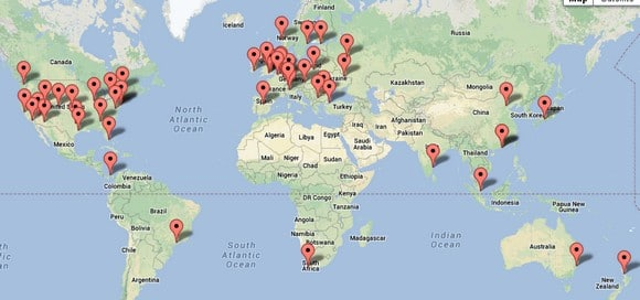 Map showing EarthVPN servers