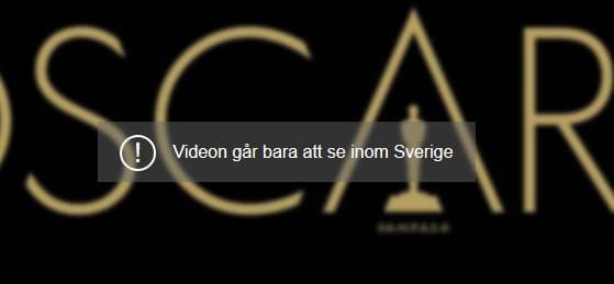 The error message you will see if you try to watch the Oscars live on Aftonbladet without a Swedish IP address