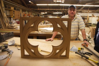 The beginnings of the altar rail gate.