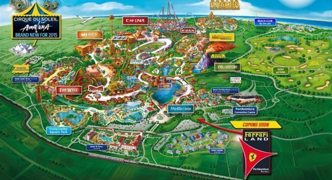 Mappa del nuovo parco Ferrari Land vicino a PortAventura in Spagna