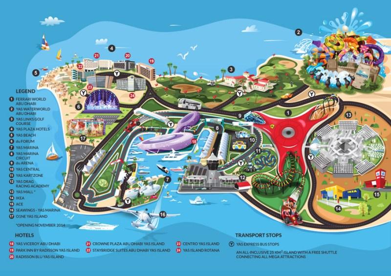 Mappa di Yas Island di Abu Dhabi con attrazioni, parchi divertimento e trasporti
