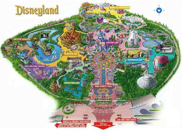 Mappa Disneyland - Los Angeles (California)