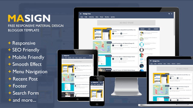 Masign Material Design Blogger Tenplate Free