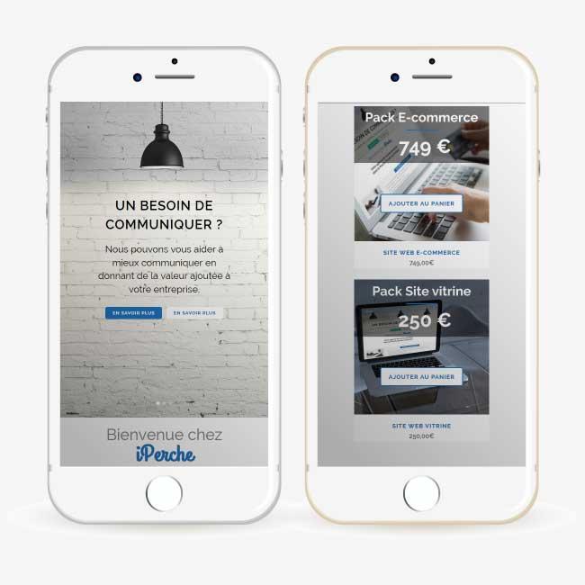 Exemple de création Site Internet responsive et e-commerce pour l'entreprise iPerche.fr