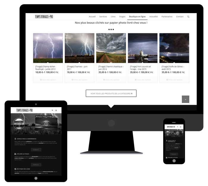Exemple de création Site Internet responsive et e-commerce pour l'entreprise Temps d'orages Pro