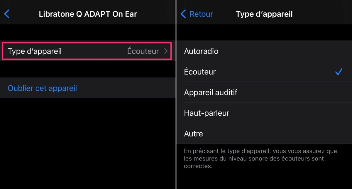 Type of Bluetooth devices on iOS 14