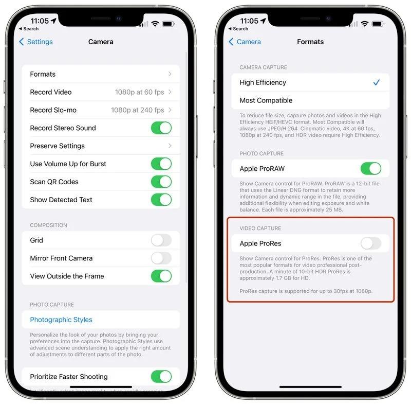 Apple ProRes option iOS 15.1 beta 3