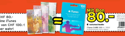 iTunes-Karten Aktion bei Interdiscount