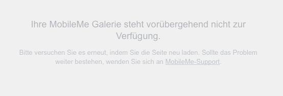 Fehlermeldung bei Galerie im MobileMe
