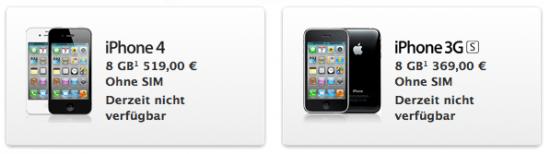Nicht mehr verfügbare iPhones im Online-Store von Apple