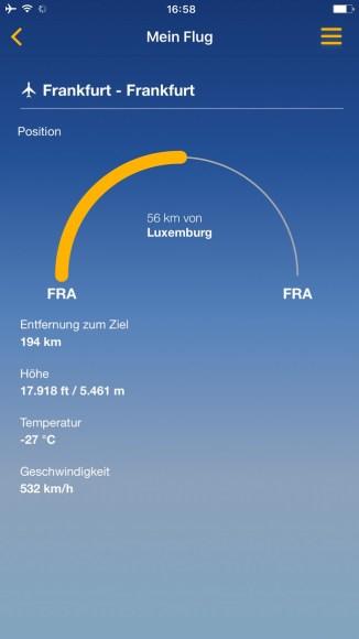 Flugstatus in der Lufthansa App