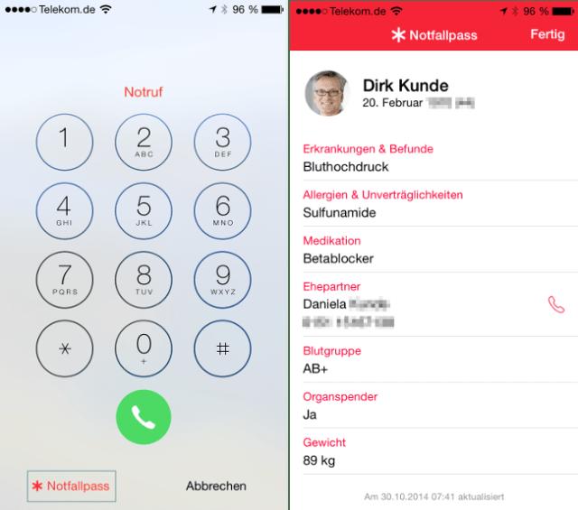 iOS 8 Notfallpass