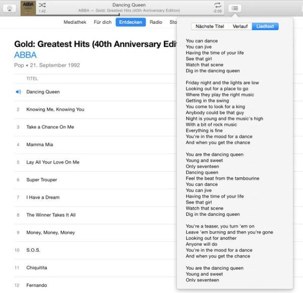 iTunes Liedtext mitlesen