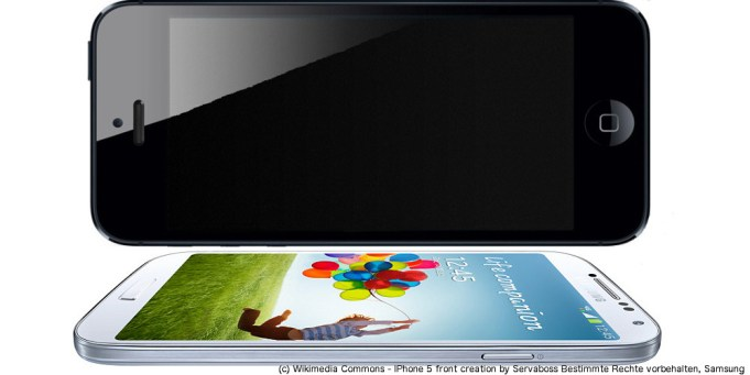 Bild: Image via Wikimedia Commons - IPhone 5 front creation by Servaboss Bestimmte Rechte vorbehalten, Samsung