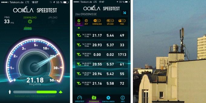 LTE Speedtest und Mobilfunkantenne auf dem Dach