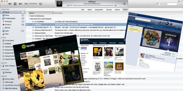 Apple iTunes Musik Streaming, Napster, Pandora und Spotify