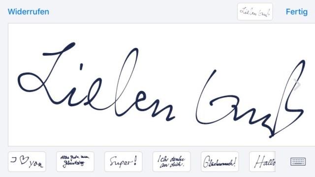 Handschrift Nachrichten iOS 10