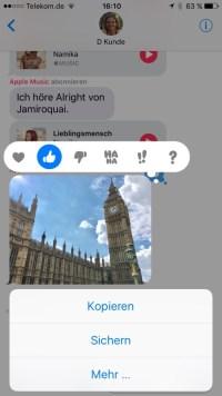 Tapback iOS 10 Nachrichten