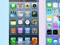 Startbildschirm iOS 6 und 7 im direkten Vergleich