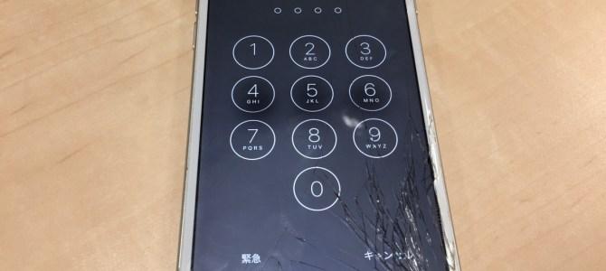 iPhone6フロントパネル交換修理 江別市より『アスファルトにに落としてしまった・・・』