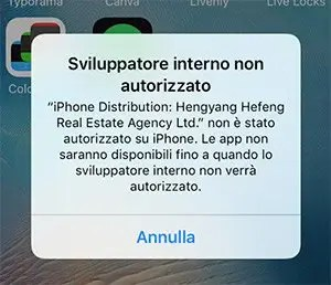 Errore Autorizzazione iOS