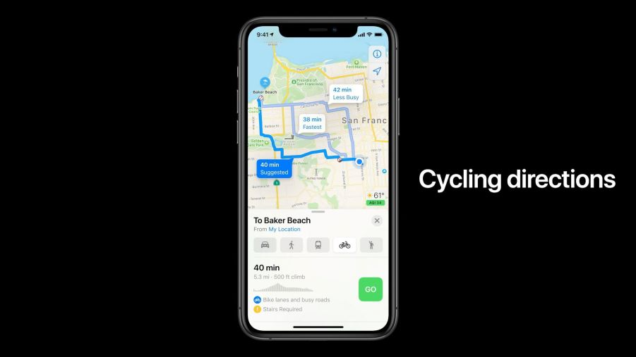 Apple iOS 14 Apple Maps Cycling Directions