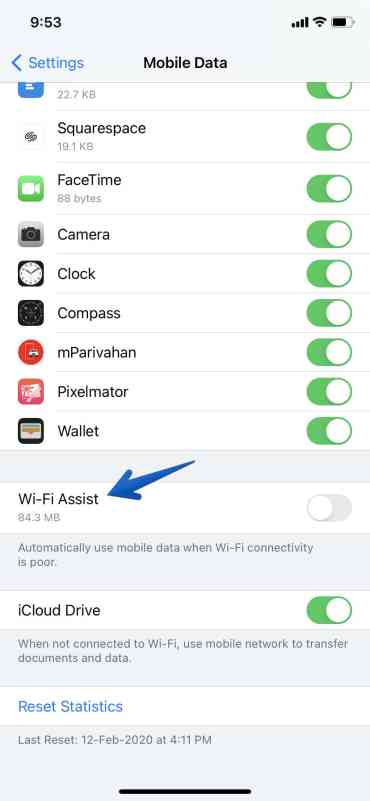 Disable Wi-Fi Assist iOS 14